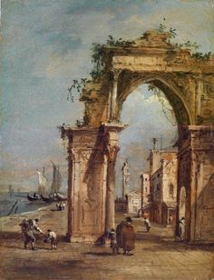 FRANCESCO GUARDI. CAPRICE WITH TRIUMPHAL ARCH AND COUNTRY IN THE BACKGROUND. oil on panel. 19,4 × 14,8 cm. Provenance: Auction Koller, Zurich, 17-19/09/1997,Lot 91. Dorotheum. Vienna. Old Master Paintings. 15/10/2013. Lot 618. Estimate: 100.000/ 150.000 €. Price realized: 122.300 €.