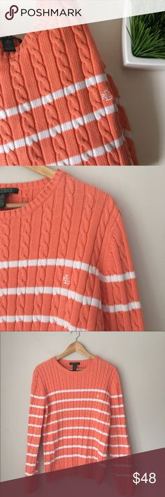 Ralph Lauren Orange Striped Cable Crewneck Sweater Perfect with leggings jeans or even a pair of cut off shorts. Orange striped cable knit crewneck sweater by Ralph Lauren. 100% cotton. Size XL. NWOT. Lauren Ralph Lauren Sweaters Crew & Scoop Necks