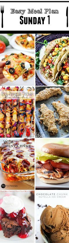 """STRESS FREE Weekly Meal Plan Sunday #1 so you always know """"What's For Dinner?"""" before ever being asked. Top recipes from favorite bloggers who have done all your time consuming meal planning for you!"""