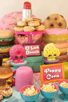 Fun food at a Shopkins birthday party! See more party planning ideas at CatchMyP. Fun food at a Shopkins birthday party! See more party planning ideas at CatchMyP… Fun food at a May Birthday, 9th Birthday Parties, Baseball Birthday, Birthday Party Favors, Birthday Ideas, Party Favours, Shopkins Food, Shopkins Bday, Shopkins Invitations