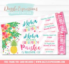 Printable Pineapple Luau Birthday Ticket Invitation