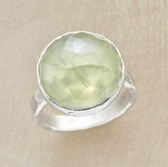Your own private pinnacle, glowing as though struck by sunlight. Faceted prehnite dome is framed in a polished sterling bezel on a hammered band. Exclusive. Color may vary. Whole sizes 5 to 9.