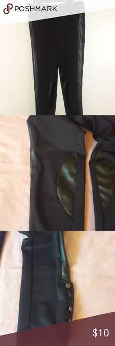 Leggings Black leggings with faux leather trim on side, waist and knee. Zipper and button front.  5 buttons at the ankle. Good condition. Pet free and smoke free home. Bundle with items from my closet for best deals but I also accept reasonable offers. Forever 21 Pants Leggings