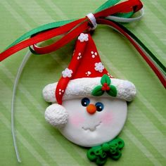 Happy Snowman Ornament Polymer Clay....can see this made out of paper for a card