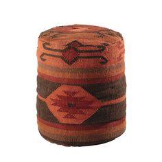 Puf étnico de lana y yute ocre OUZOU