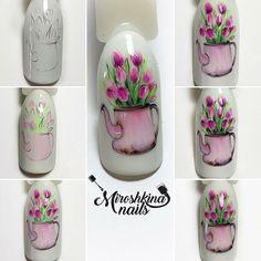 "#nailarttutorial #flowernailart МАНИКЮР: уроки и МК (@nails_by_steps) on Instagram: ""@miroshkina_nails - МК «Tulips» ___________________ роспись выполнена гель-лаками wula…"""