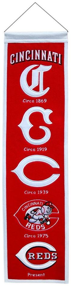 MLB Cincinnati Reds Heritage Banner-- I've got one of these in my REDS CAVE!!!!