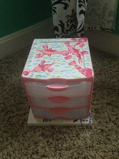 Lilly pulitzer inspired storage drawer which will contain my playing cards once painted with spades and hearrs.