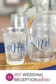 Disposable soft clear plastic cups personalized with wedding monogram for serving drinks at your engagement party, bridal shower, rehearsal dinner, wedding reception, or wedding after party. Wedding After Party, Diy Wedding Reception, Fall Wedding Centerpieces, Wedding Ideas, Wedding Rehearsal, Reception Ideas, Wedding Stuff, Wedding Plastic Cups, Wedding Cups