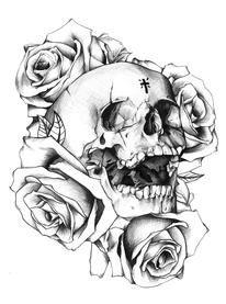 Beautiful rose skull design.