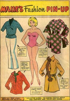 Millie the Model, 1966  The '60s encompassed so many different styles, from sleek and chic to Bohemian/hippie.  Some of The last of the tab-less paper dolls from the May 1966 issue of Millie the Model #137