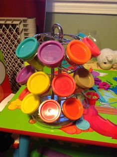 Alternative use for the Keurig k-cup tree! Play-Doh holder. Cora loves it
