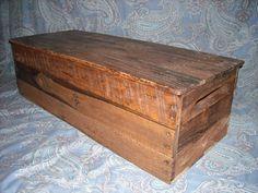 Primitive Wood Box, Storage Chest, Trunk, Wooden box, primitive home decor style 217 Toy Boxes, Storage Boxes, Storage Chest, Trunks And Chests, Home Decor Styles, Tool Box, Wooden Boxes, Primitive, Garden Tools