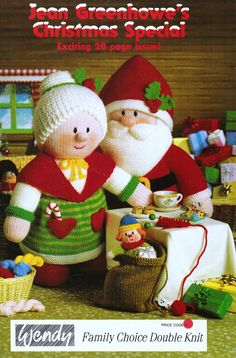 The front cover of Jean Greenhowe's 'Christmas Special' collection. Inside is an impressive array of Christmas goodies to make, from Santa to a reindeer, from tea cosies to a nativity scene and much more (from the very small to pretty big, for a knitted treasure). Knitted in DK wool they are all easy to make, although some are time consuming. Designed and published by Jean Greenhowe Designs in 1991.