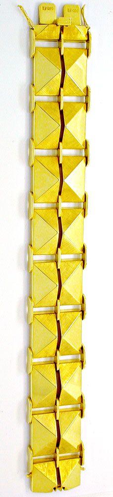 Foto 3, Seltenes Designer-Pyramiden-Gelbgold-Armband Luxus! Neu, K2961