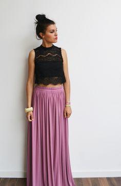 Maxi jupe longue rose vintage en jersey taille haute, fluide et plissée tendance été style bohème et hippie : Jupe par menina-for-mathis