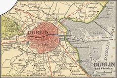 Stock Illustration - Map of Dublin, circa from the edition of Encyclopaedia Britannica. Printable Maps, Free Printables, Dublin Map, Irish Sea, Cartography, Landscape Art, Old Photos, Art History, Mythology