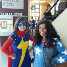 America Chavez Kamala Khan Featured cosplayers: marinasharpewit & spiritworldqueen Epic Cosplay, Marvel Cosplay, Cosplay Costumes, America Chavez, Ms Marvel Kamala Khan, Miss America, Marvel Characters, Captain Marvel, Capes