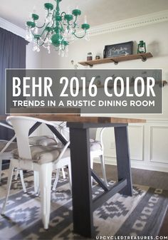 Transform your home into a dreamy space. With help from the 2016 BEHR Color Trends, your dining room is now a rustic retreat—featuring fun emerald green accents for visual interest.