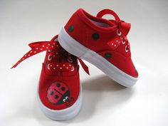 Girls Ladybug Shoes Kids Hand Painted Red Canvas Sneakers Baby and Toddler USD) by boygirlboygirldesign Baby Girl Shoes, My Baby Girl, Kid Shoes, Girls Shoes, Doll Shoes, Painted Canvas Shoes, Painted Sneakers, Canvas Sneakers, San Antonio