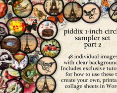 This collage sheet includes my two of most popular butterfly designs: 20 butterflies on vintage postcards and 20 sideways butterflies on 1700s parchment, all in one 8.5x11 inch page.  Image size: 1 inch circles (25.3mm)  Piddix has been providing the best quality, top selling printables for nearly 10 years on etsy. Our collage sheets are perfectly sized for jewelry and all kinds of crafts, and thoroughly researched for copyright so you can safely use them in any of your creations.  ★COUPON…