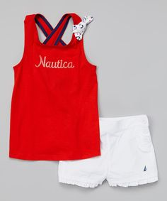 Another great find on #zulily! Nautica Red 'Nautica' Tank Tee & White Shorts - Infant & Toddler by Nautica #zulilyfinds