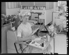 From the Harvard Art Museums' collections Untitled (woman writing while under hair dryer at beauty parlor) Salon Dryers, Forced Haircut, Vintage Hair Salons, Wet Set, Hot Rollers, Roller Set, Beauty Shop, Vintage Hairstyles, Vintage Beauty