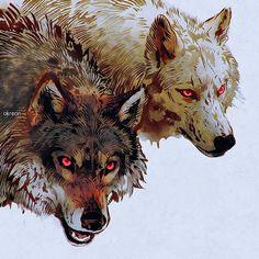 #wolves #wolf #digitalart #rebelle2 #redeyes #wilki #wilk #lobo #husky #wolfdog #dog #malamute