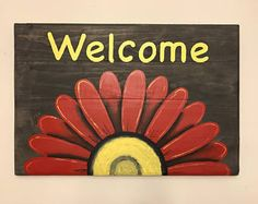 """Purchase this amazing """"Welcome Sign with Daisy"""" Canvas Painting and we will ship the item for free. This is the perfect centerpiece for your home. Cow Wall Art, Cow Art, Wood Wall, Reclaimed Wood Signs, Rustic Wood Signs, Flower Painting Canvas, Painting On Wood, Flower Paintings, Camper Lights"""