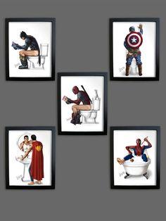 SET of *5* Bathroom PRINTS UNFRAMED Superhero Superman Spiderman  Captain America Batman Pooping Peeing Man Cave Poster Decal Boyfriend Gift
