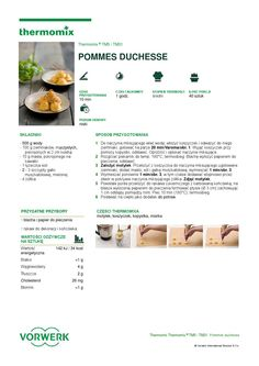 thermomix - Pommes duchesse Make It Simple, Food And Drink, Cooking, Pork, Thermomix, Kitchen, Brewing, Cuisine, Cook