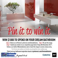 Pin It to Win It! $1000 to spend on your dream bathroom*