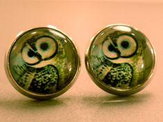 Owl Stud Earrings: Owl Fake Plug Earrings, Owl Earrings, Owl Studs, Cabochon, Domed on Etsy, $5.50