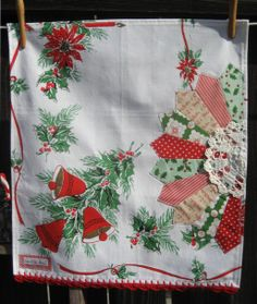 ::This sweet vintage tea towel was handmade with lots of love by me, using a vintage Christmas tablecloth, with modern and vintage fabric, a vintage doily, and vintage lace in the back to hang your sweet tea towel up, if you so chose.  ::I have crocheted a most lovely pretty red edging using %1...