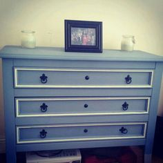 Customer transformation - Mexican pine chest of drawers transformed with autentico ( contains chalk ) paint. Painted in autentico code blue