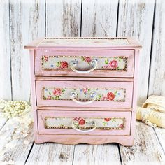 French Country Pink Shabby Chic Vintage Look Decoupage Wooden Mini Chest Drawers…
