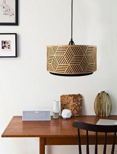 Lampshade made of wood with cut-outs - Handmade - by min-jon Lamp Design, Lighting Design, Lampe Laser, Luminaria Diy, Geometric Lamp, Beautiful Home Gardens, Ideas Hogar, Interior Exterior, Modern Interior