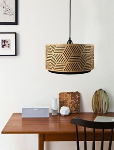 Lampshade made of wood with cut-outs