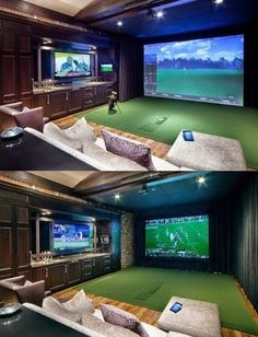 Incredible Golf Themed Basements - Basic Dad Bro - Home Theater Design Home Golf Simulator, Indoor Golf Simulator, Man Cave Room, Man Cave Home Bar, Man Cave Basement, Home Theater Rooms, Home Theater Design, Golf Man Cave, Sports Man Cave