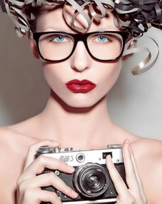 Girl with Camera   Spectacles   Model   Red Lip