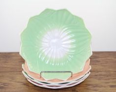 Fire King Lotus Leaf and Blossom Plates. Anchor Hocking Vitrock. 1950s Housewares. Vintage Kitchen. Flower Plate. Pastel. Pink Green Plates.