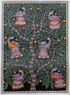 Madhubani painting, 'Tree of Life IV' - Signed Colorful Madhubani Painting of a Tree from India Madhubani Paintings Peacock, Kalamkari Painting, Madhubani Art, Indian Art Paintings, Tree Of Life Painting, Tree Of Life Art, Mural Painting, Tree Art, Fabric Painting