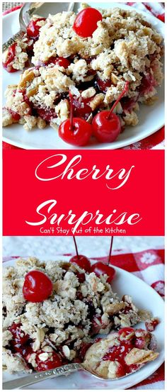 Surprise Cherry Surprise is a spectacular cherry cobbler-type dessert with cherry pie filling, nutsCherry Surprise is a spectacular cherry cobbler-type dessert with cherry pie filling, nuts Cherry Desserts, Cherry Recipes, Great Desserts, Fruit Recipes, Sweet Recipes, Delicious Desserts, Dessert Recipes, Cooking Recipes, Puddings
