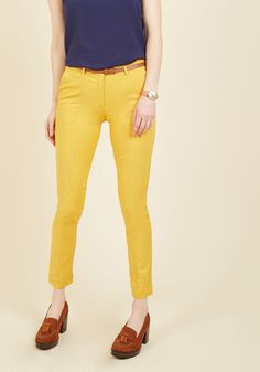 Situationally Savvy Pants in Mustard. With a business lunch, a multitude of meetings, and date night all on the agenda, these goldenrod pants will have you looking like youve dressed specially for each occasion! #yellow #modcloth