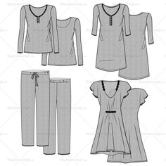 Grey marled / heather texture pajama set with lace edges (lace is made as a pattern brush).  Includes long sleeve top with placket and lace edge, pants with dra