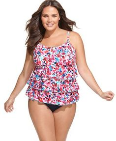 Fit 4 U Swimsuit, Floral Print Ruffle Tankini Top & Solid Brief Bottom Ruffles, Junior Plus Size, Kinds Of Clothes, Plus Size Swimsuits, Fit 4, Tankini Top, Swim Top, Plus Size Fashion, Floral Prints