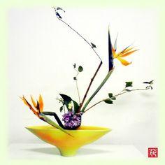 生け花「極楽鳥の舞」