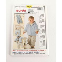 Burda Pattern 9828 Baby Toddler Overalls Pants Tops Jacket Size to 3 Wardrobe fun Baby Overalls, Baby Pants, Burda Patterns, Sewing Patterns, Baby Size, Fun, Jackets, Tops, Gift
