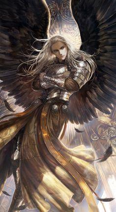 Fantasy Art Men, Fantasy Warrior, Fantasy Artwork, Fantasy Character Design, Character Inspiration, Character Art, Angel Artwork, Angel Warrior, Angels And Demons