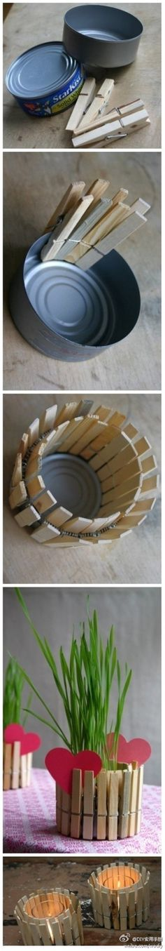 Earth Day or Mothers Day Idea! Recycle an old tin and some clothes pegs into a plant pot or candle holder! Kinda like this idea!!! - Click image to find more DIY & Crafts Pinterest pins